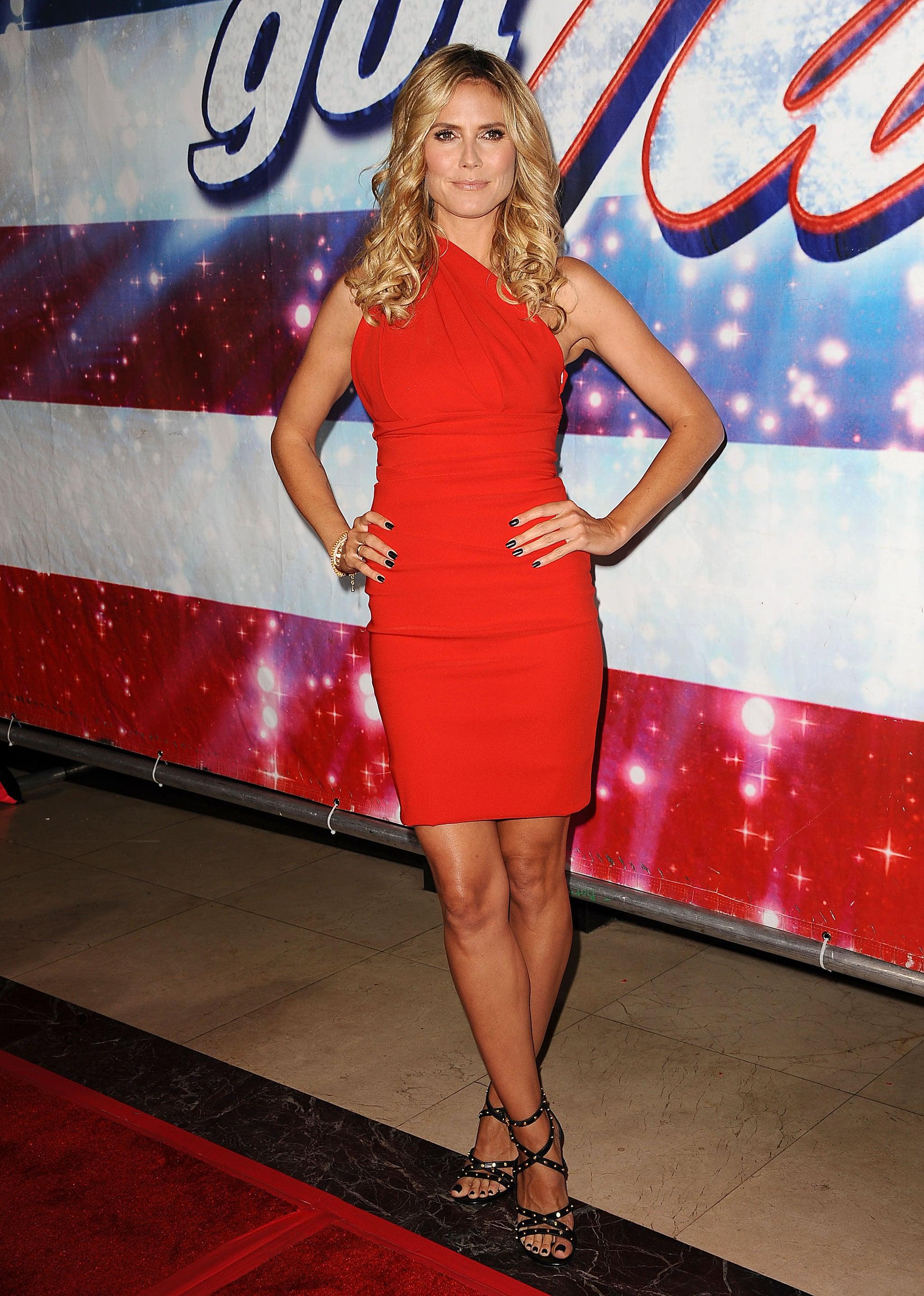 Heidi Klum in a Red Preen at a 2013 America's Got Talent Event