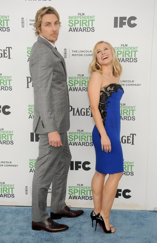 Kristen cracked up when Dax struck an over-the-shoulder pose at the Film Independent Spirit Awards in March 2014.