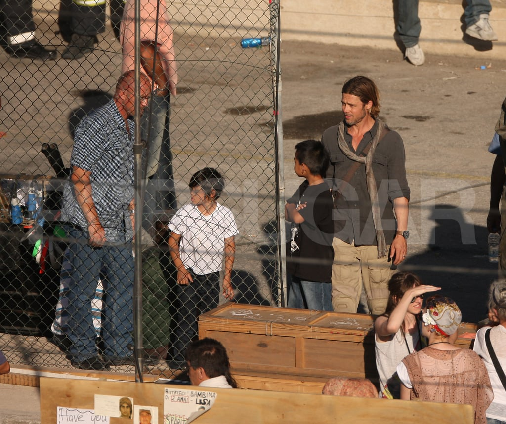 Maddox and Pax Visit Smiley Brad Pitt For a Day on the World War Z Set