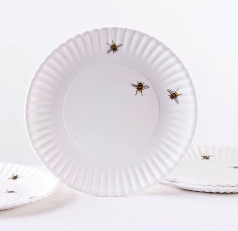 What Is It? Reusable White Dinner Plates With Bees