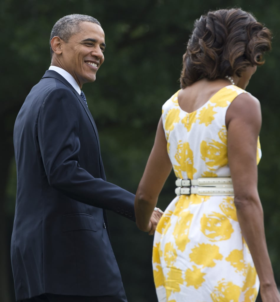 President Obama looked happy to head out for vacation.