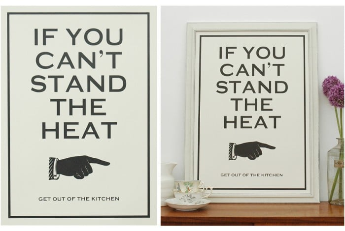 """Truman's catchphrase """"If you can't stand the heat, get out of the kitchen"""" makes its way onto a hand-pulled screen print ($29) that's perfect for a serious chef."""