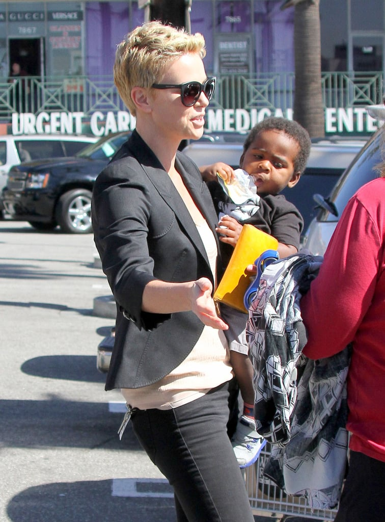 Charlize Theron carried son Jackson to her car after a stop at an LA Whole Foods.