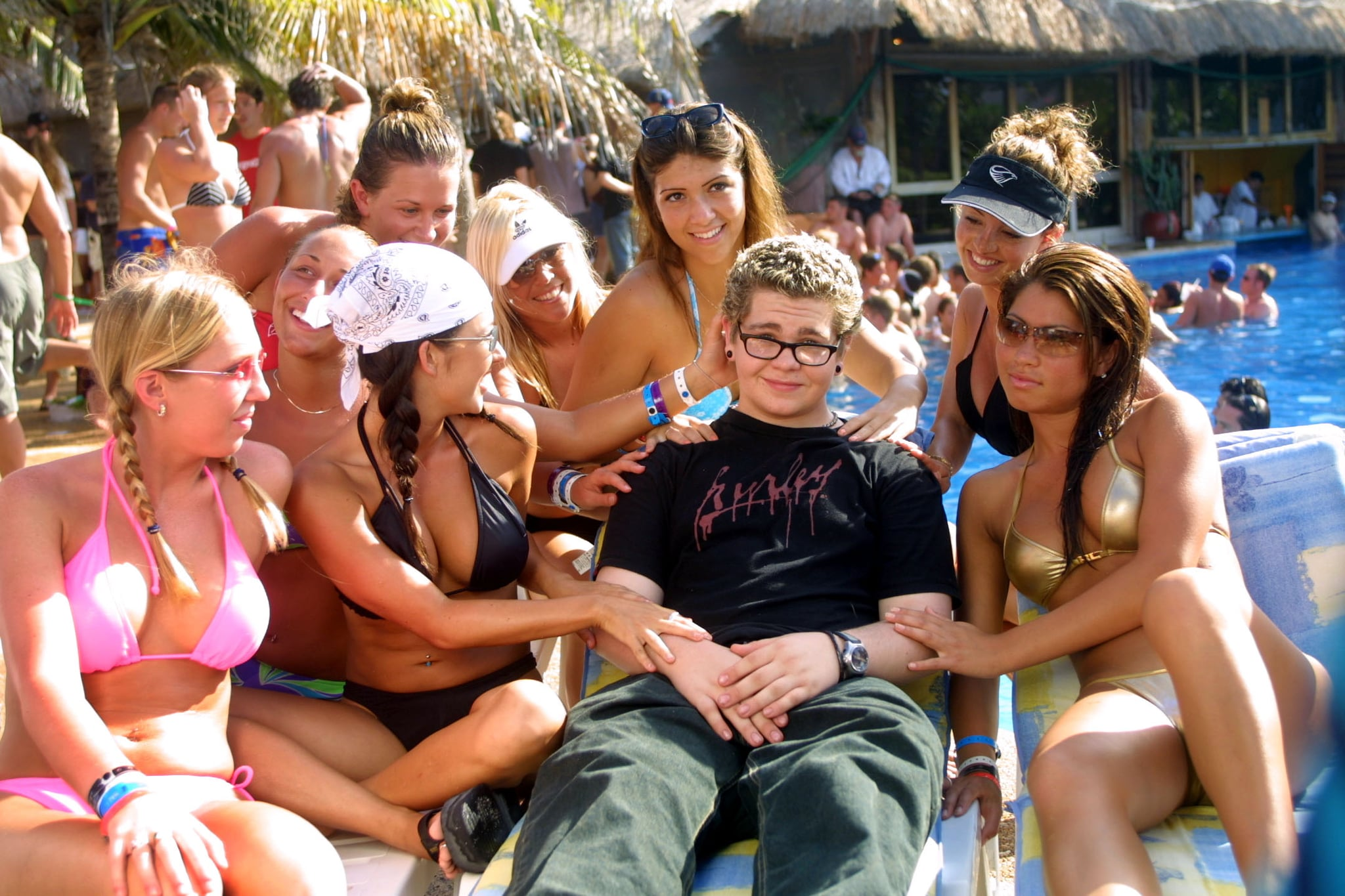 2002: Jack Osbourne is surrounded by bikini-clad ladies in Cancun.