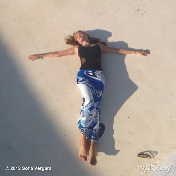 Sofia Vergara lounged in the sand. Source: Sofia Vergara on WhoSay