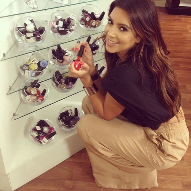 Kim Kardashian played with some OPI nail polishes in a Dash store in Los Angeles. Source: Instagram user kimkardashian