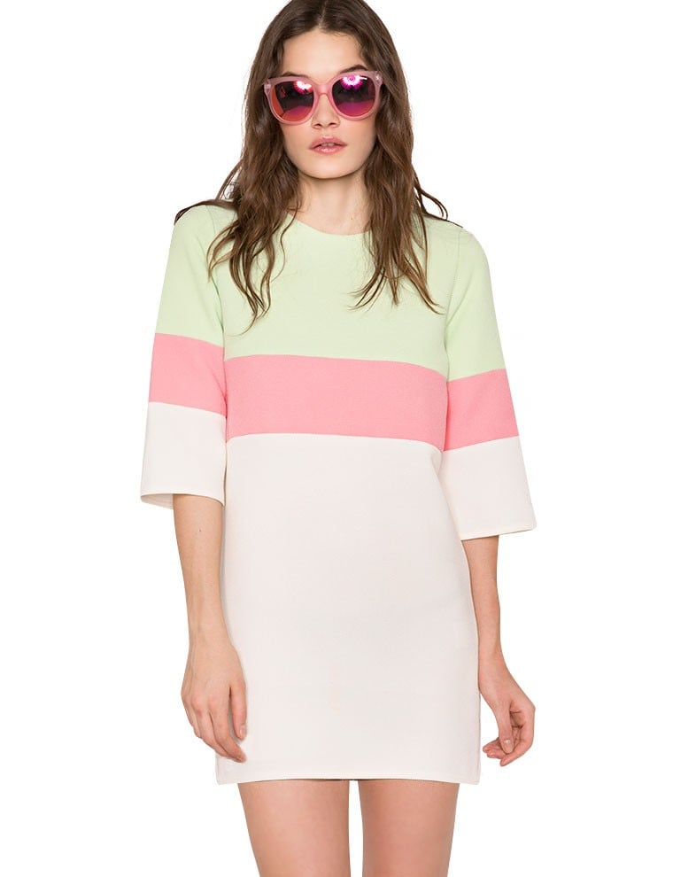 Pixie Market Mint Green, Pink, and White Striped Dress
