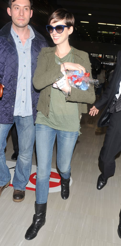 Anne Hathaway carried a gift from fans.