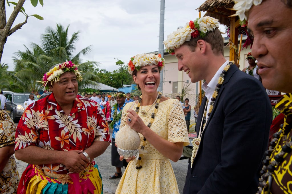 Kate drank from a coconut in Tuvalu in Sept. 2012.