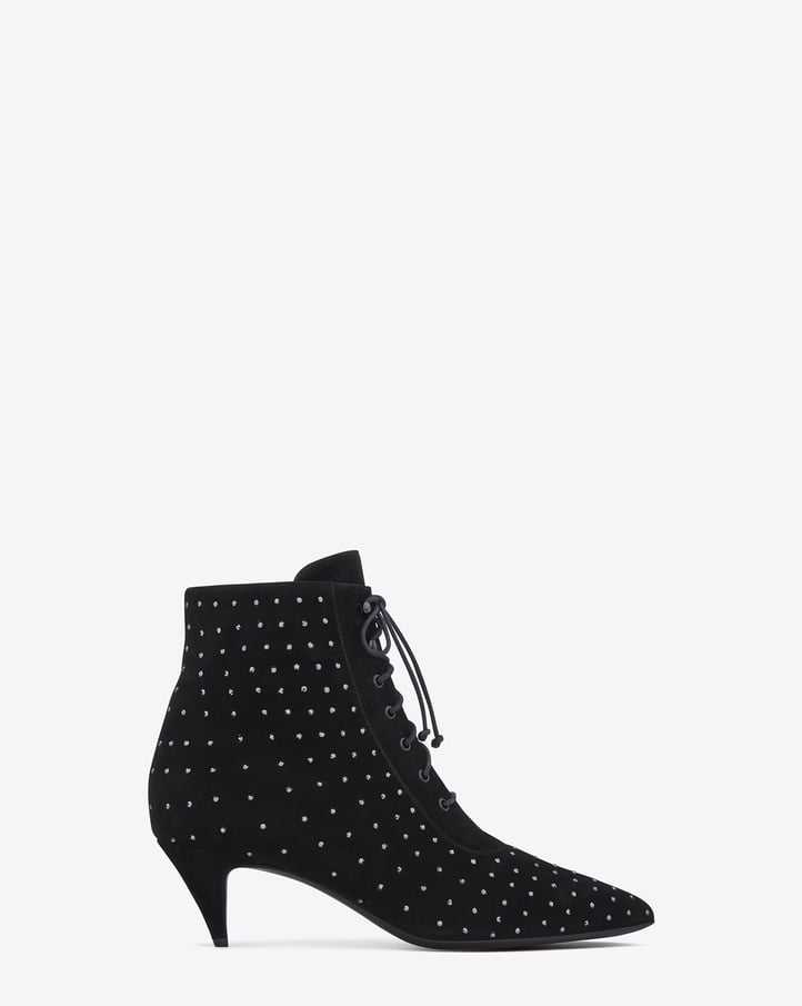 Saint Laurent Cat Boot in Black Suede and Crystal Studs