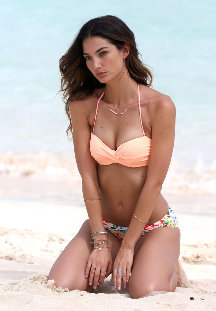 Lily Aldridge showed off her bikini body for a photoshoot in St. Barts.