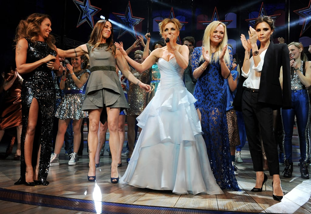 Victoria Beckham joined her former band, The Spice Girls, onstage at the Viva Forever! press night at London's Piccadilly Theatre.