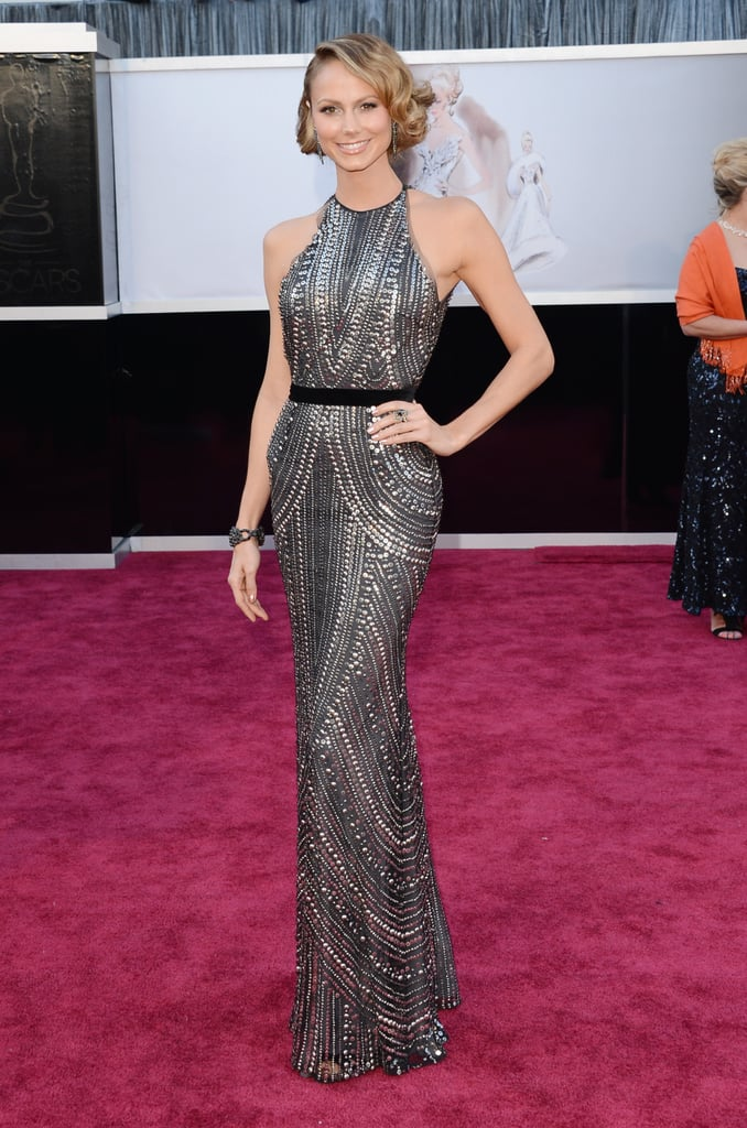 Stacy Keibler wore an Armani gown on the red carpet at the Oscars.