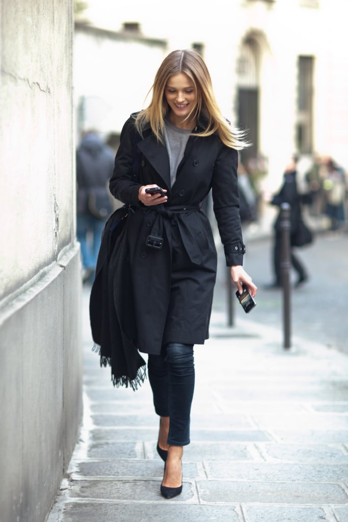 For your casual Fridays, do still keep it sophisticated with skinnies, classic heels, and a classic trench. Source: Le 21ème | Adam Katz Sinding