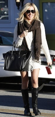 Ashley Tisdale in Creme Pency Sweater Dress, Black Ash Boots, and Celine Bag