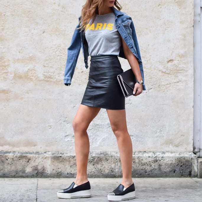 leather skirts popsugar fashion
