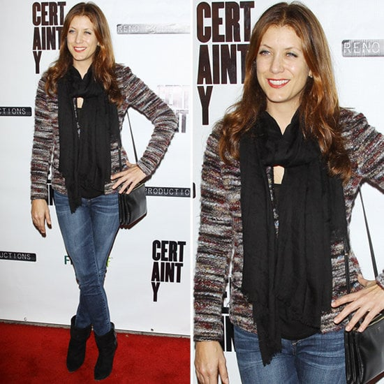 Kate Walsh dressed up her denim with a striped tweed jacket.