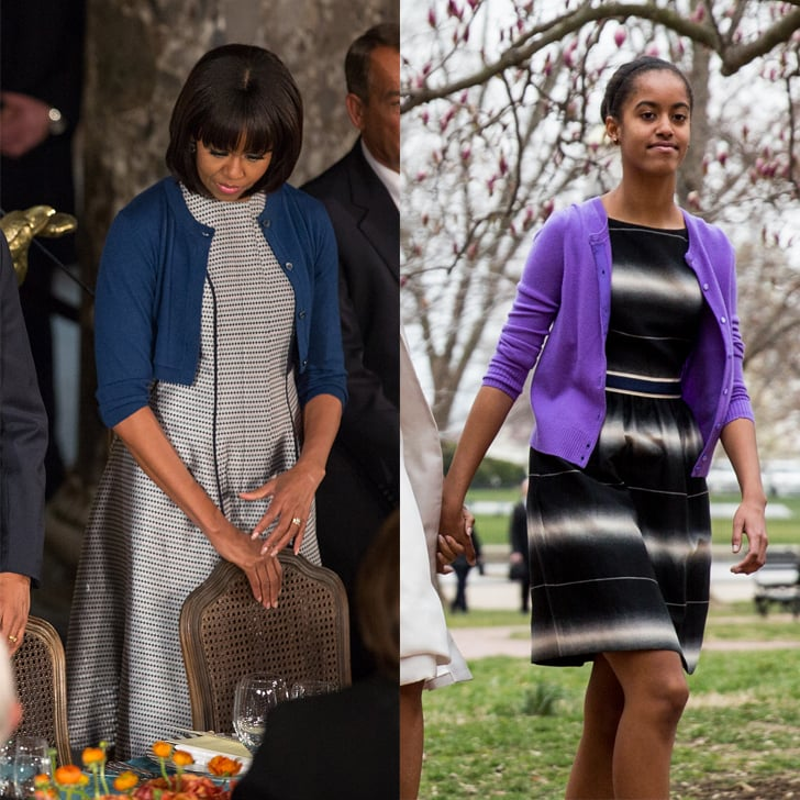 When Malia Took Mom's Advice and Wore a Cardigan Over Her Dress