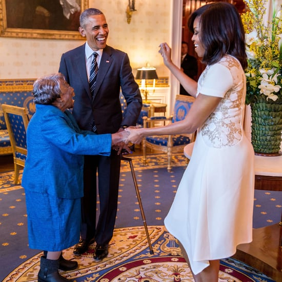 Michelle Obama Wears a White Lace Dress to Meet 106-Year-Old