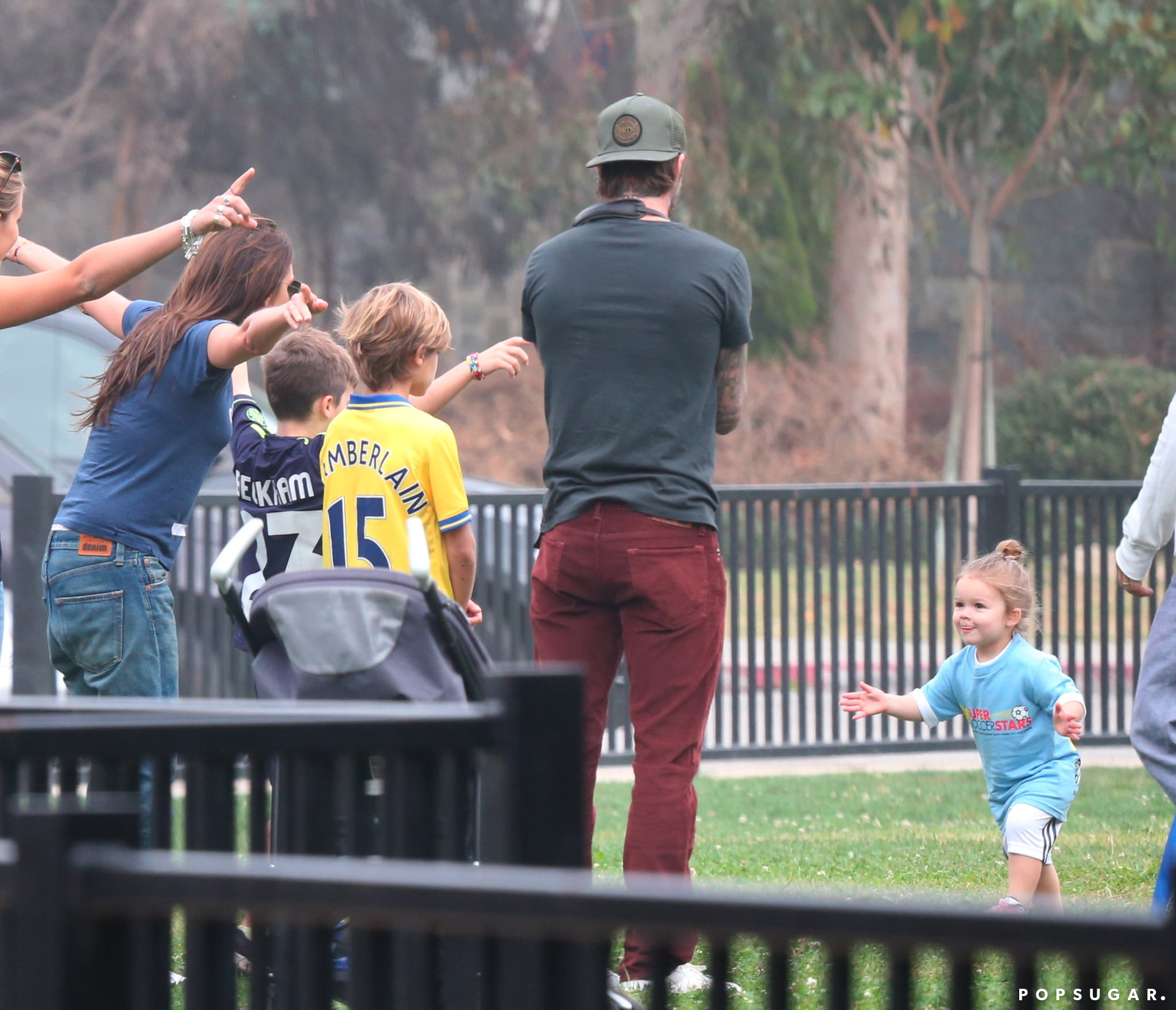 Harper Beckham was all smiles after scoring a soccer goal in front of her family.