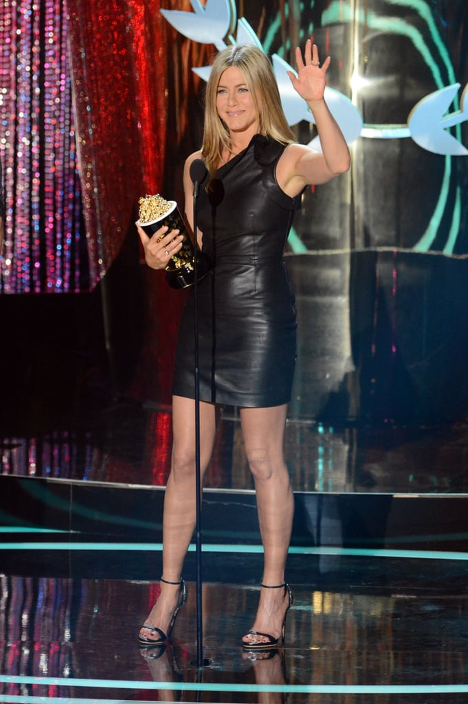 Jennifer Aniston wore a tight leather dress to accept her award for best onscreen dirtbag for Horrible Bosses in 2012.