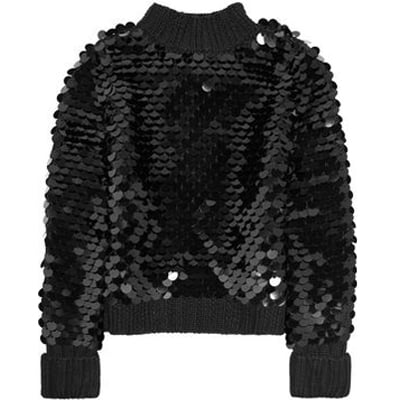 This Karl Kenya paillette-embellished sweater ($345) would look equally amazing with a pair of jeans or a pencil skirt.