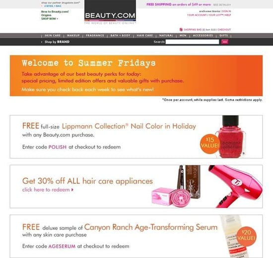 Get Your Summertime Discount on Each Friday at Beauty.com!