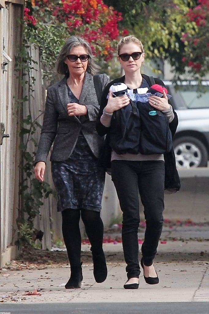 Anna Paquin and her mom took the little ones out for a walk.
