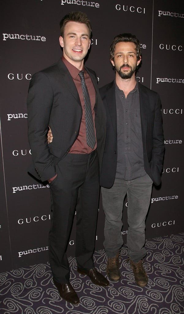 Chris Evans and pal Jeremy Strong.