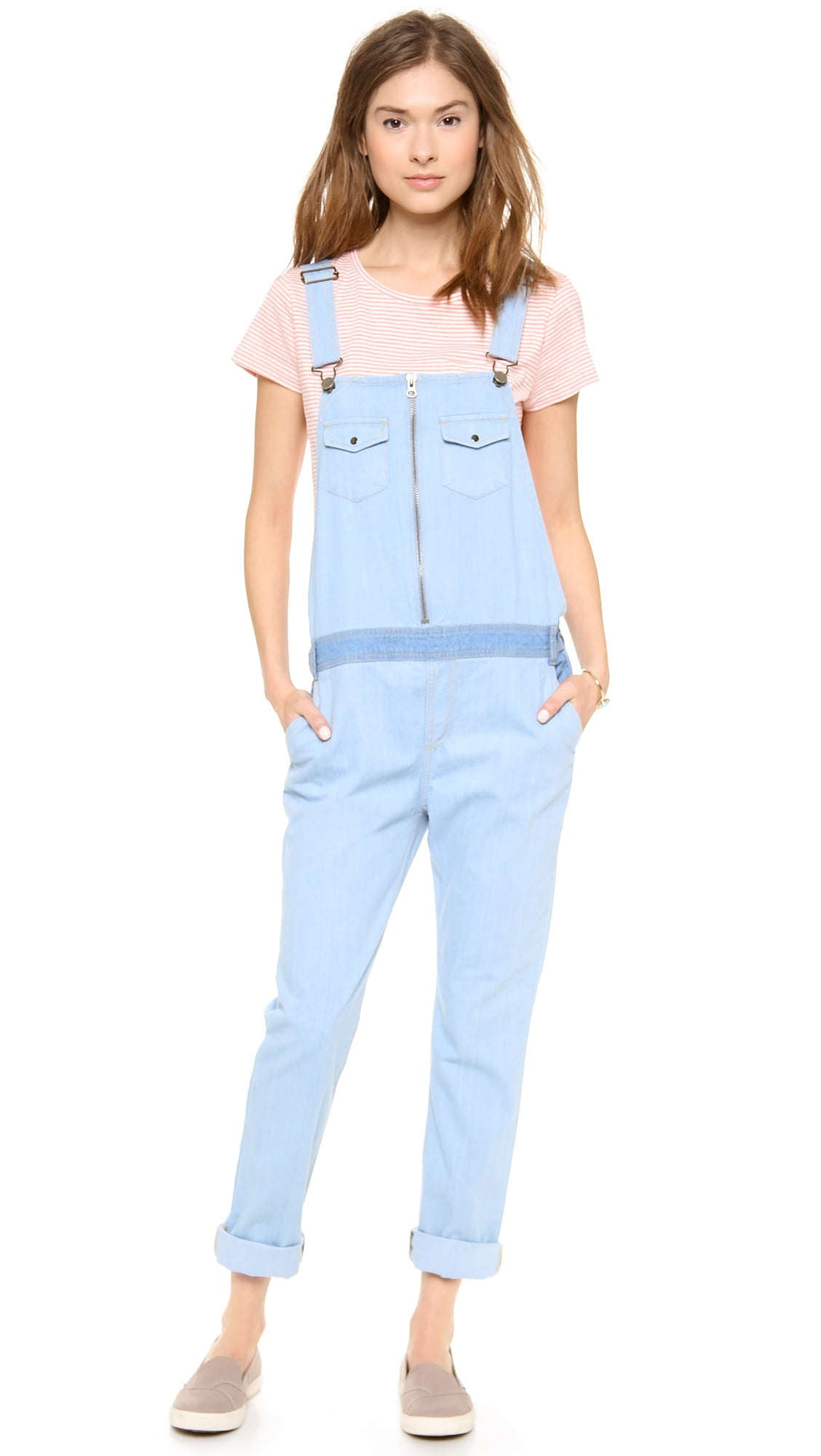 April May light denim overalls ($317)