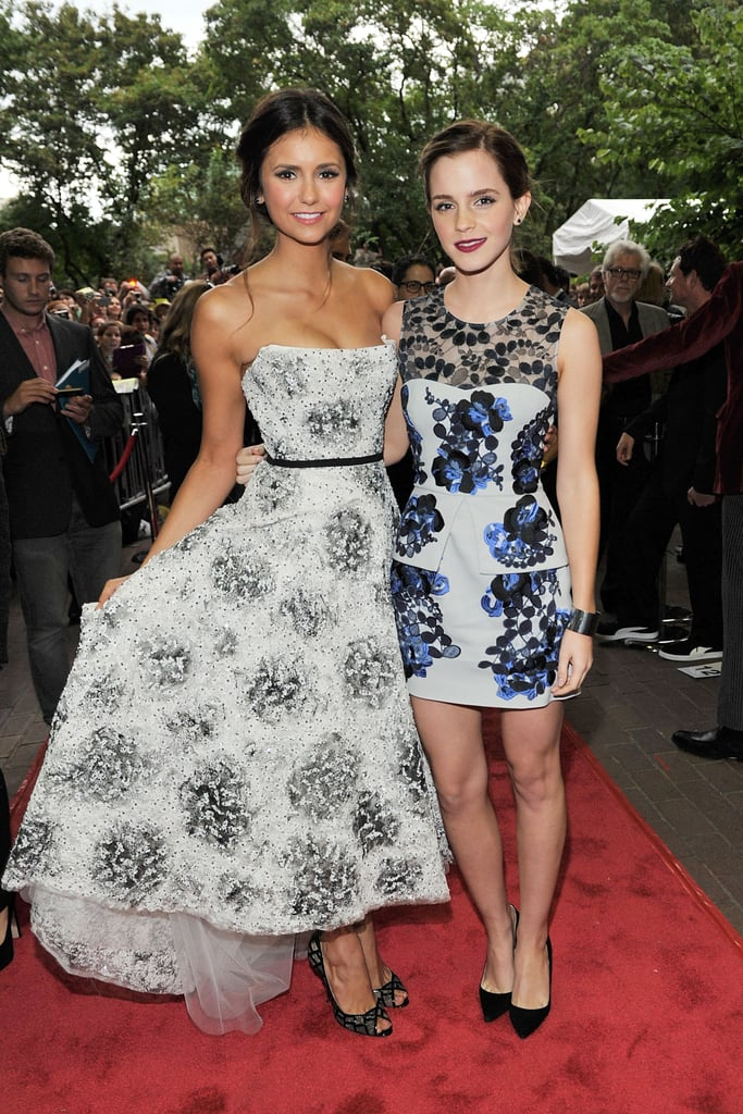 Nina Dobrev and Emma Watson got glamorous to hit the red carpet in 2012 to promote their collaboration The Perks of Being a Wallflower.