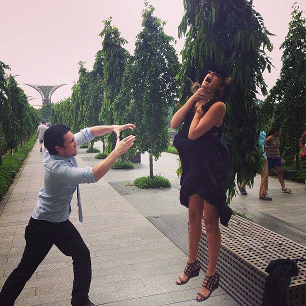 """Jessica Alba got """"Vadered"""" by a friend during a trip to Singapore. Source: Instagram user jessicaalba"""