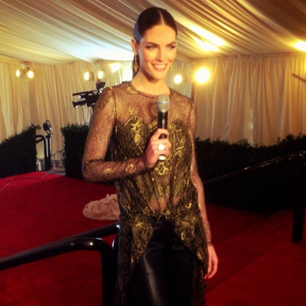 Host Hilary Rhoda rehearsed for the Met Gala live stream in her glittering Wes Gordon ensemble. Source: Instagram user elitenyc