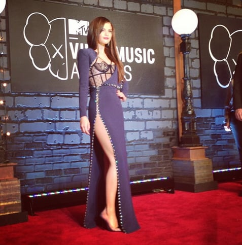 MTV got quite the view when Selena Gomez stepped out in Versace. Source: Instagram user mtv
