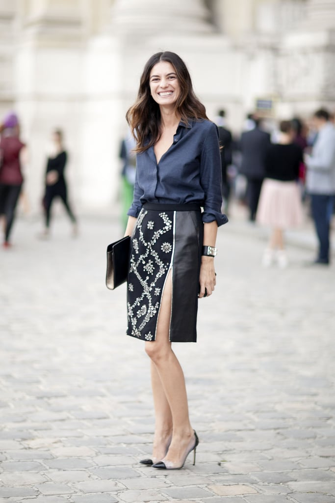 A button-down was all business up top, but a slit pencil skirt was a bit more party on the bottom.