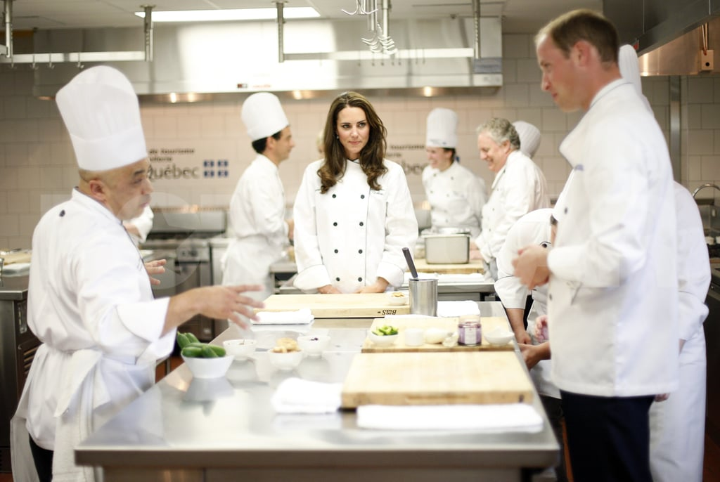 Kate Middleton watched as her husband, Prince William, tried his hand at cooking.
