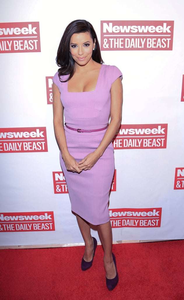 Eva Longoria looked chic in a pink fitted sheath dress at The Daily Beast's bipartisan inauguration brunch.