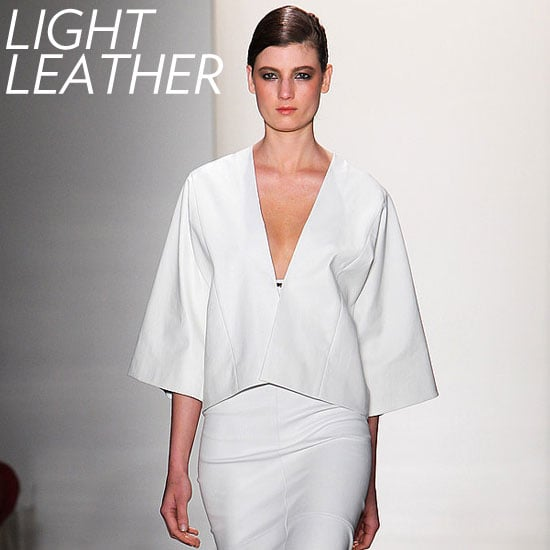 Why we love it: Depending on your region, light leather jackets can be the perfect Spring topper. Notice how Zero + Maria Cornejo cut its runway version to look like a top. How to wear it: Keep the mood light and opt for white, camel, or light gray leather hues. We love the idea of pairing it with pastel separates or white lace dresses for an edgy-cum-girlie mix.  Photo: Zero + Maria Cornejo Spring 2012