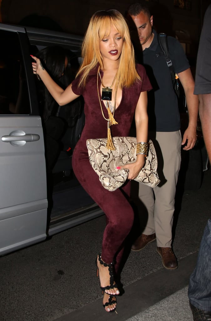 Looking rich in a bordeaux jumpsuit and suede Alaia sandals,  Rihanna was the picture of sultry perfection at an Azzedine Alaia cocktail party in Paris in June 2013.