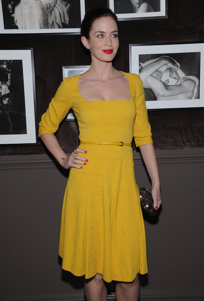 Emily Blunt wore bright red lips to the Elie Saab private dinner in NYC.