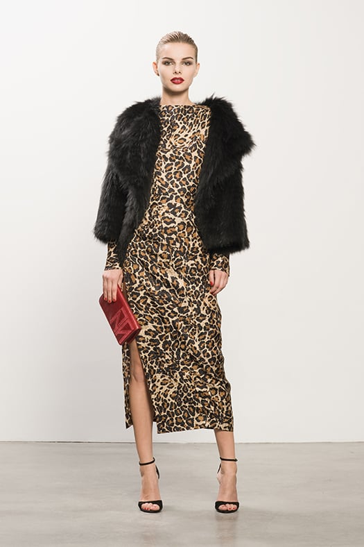Coyote Black Fur Jacket ($2,295), Jacquard Leopard Dress ($995), Whisper Black Suede Sandal ($595), TM Enjoy Red Clutch ($495) Photo courtesy of Tamara Mellon