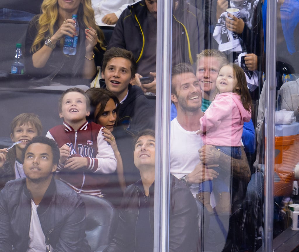 Victoria Beckham held Cruz Beckham on her lap.