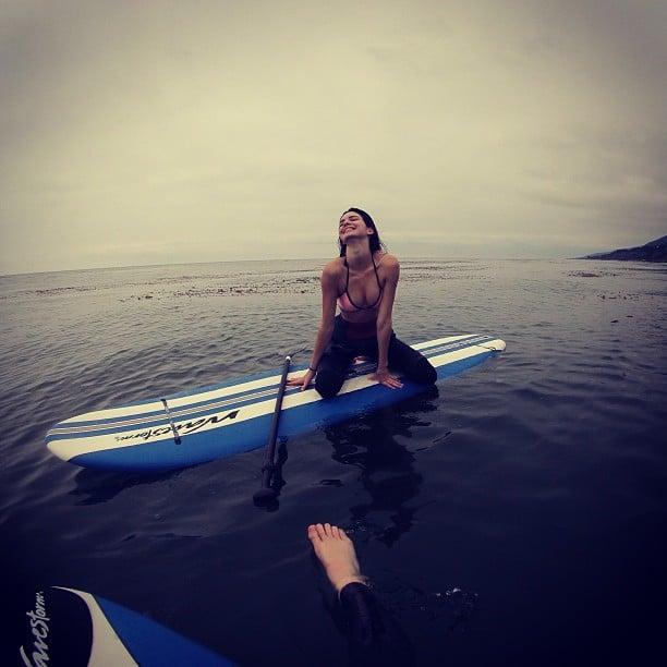 Kendall Jenner hit the water to go paddleboarding. Source: Instagram user kendalljenner