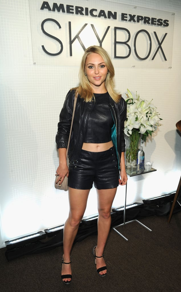 AnnaSophia Robb wore head-to-toe leather while visiting the American Express Skybox on Saturday.