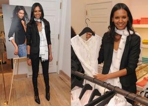 Liya Kebede Debuts Kids' Clothing Line, LemLem. at J. Crew NYC Wearing Black Shiny Leggings and a Black Blazer