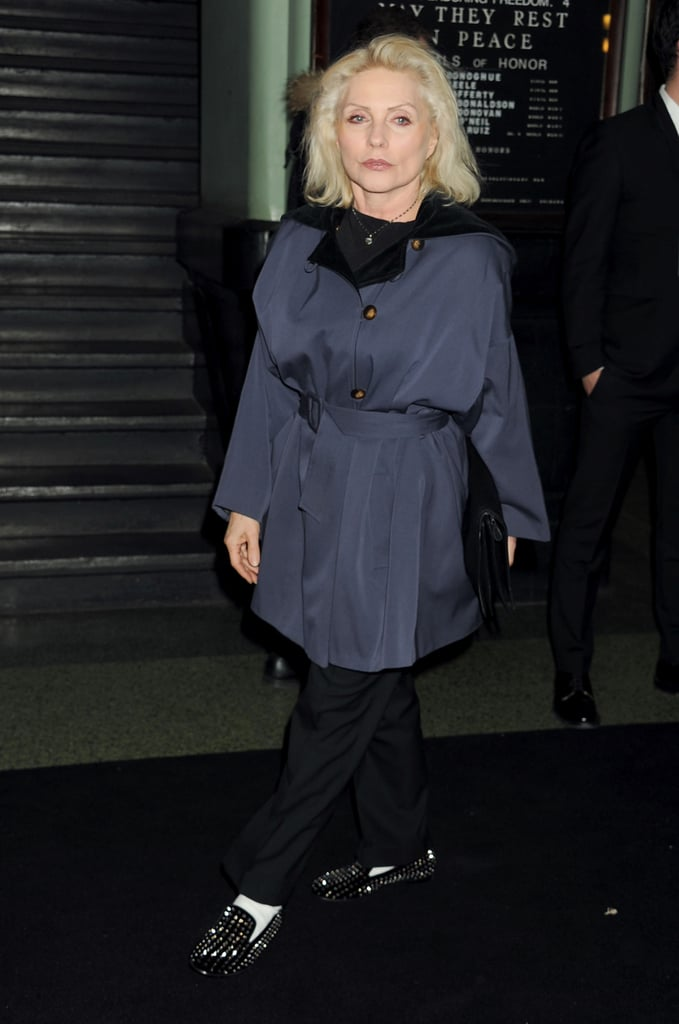 Debbie Harry wore a blue coat.