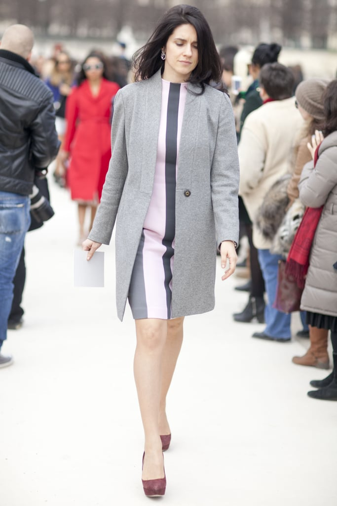 A striped mini got a classic complement from this gray wool coat.