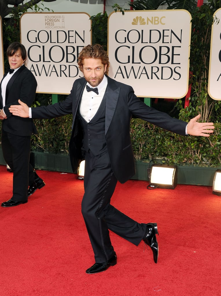 Gerard Butler entertained the red carpet-watching crowd in 2012.