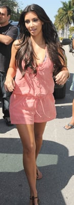 Kim Kardashian Wears Salmon Romper in Miami