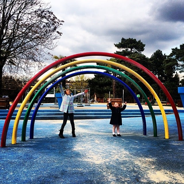 Honor and Haven Warren played under the rainbow while on their European Spring break adventure. Source: Instagram user cash_warren